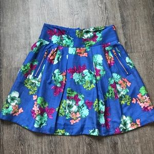 ANTHRO MAEVE Blue floral Garden Days Skirt
